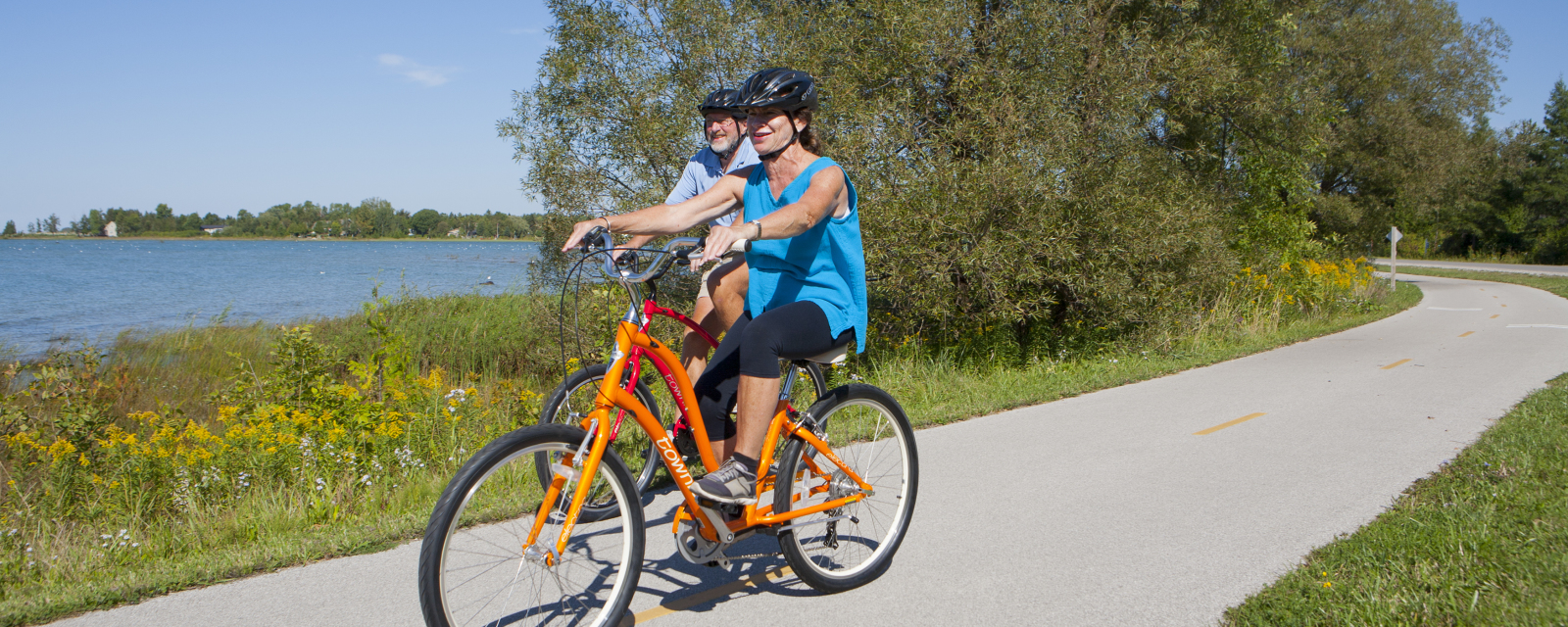 Ride the waterfront trail.